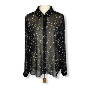 Cabi Galaxy Blouse Style 3592 Sheer Star Top Sz L